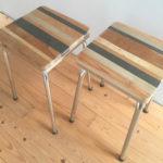 kruk strookjes sloophout en stalen onderstel, second design